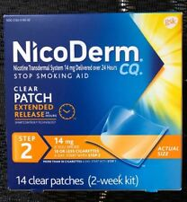 NicoDerm CQ Clear Nicotine Patch 14 mg Step 2 Stop Smoking Aid 14/ct EXP 02/22