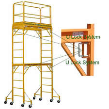 12 Feet Standing High Deck scaffold Rolling Tower With Guard Rail and Outriggers