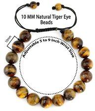 Natural Lukcy Gemstone Tiger's Eye Bead Pull & Tied AdjuShamballa Style Bracelet