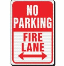 Pack of 1 - No Parking Fire Lane Heavy Duty Reflective Sign, 12 In. X 18 In.