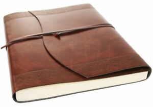 Maya Recycled Leather Journal Etched, A4 Plain Pages - Handmade in Italy