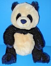 "Black Navy n Cream Silky Plush Panda Bear Zi Bo Gund Stuffed Animal 9"" 320707"