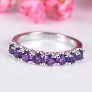 1.00Ct Round Cut Amethyst Diamond Wedding Band Ring Solid 14k White Gold Finish