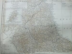 ANTIQUE PRINT 1926 MAP ENGLAND & WALES SECTION I MAP ISLE OF MAN NORTHUMBERLAND
