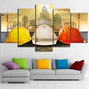 Architect Worker City 5 piece HD Art Poster Wall Home Decor Canvas Print