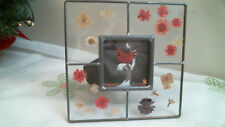 Dax stained glass photo picture frame with pressed flowers - holds 3 x3 photo