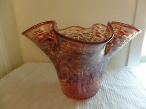 Fluted Glass Vase, Dotted Decorated in Dark Red with Accents of Aqua and Blue