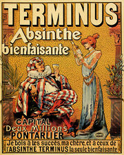 TERMINUS ABSINTHE SALUTARY DRINK FRENCH 8X10 VINTAGE POSTER REPRO FREE SHIPPING