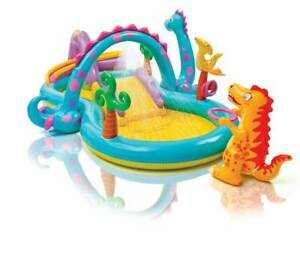 Intex 11ft x 7.5ft x 44in Dinoland Play Center Kiddie Inflatable Swimming Pool