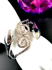 FABULOUS METAL SILVER-TONE FINISH DOUBLE COILED SNAKE SERPENT CUFF BRACELET
