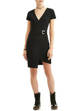 NWT Almost Famous Short Sleeve Wrap Dress Juniors  M Black