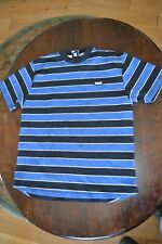 Lonsdale Mens Polo T-Shirt Top Tee Charcoal white Navy Yard Striped Size small