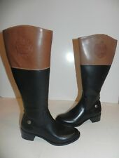 Etienne Aigner Cannes Two-Tone Black Bread Brown Riding Boot 6 M Wide Shaft