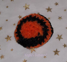 "Hand Made Crocheted 100% Nylon Kitchen Scrubby Scrubber 3"" Diameter Orange Black"