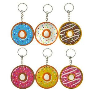 SET OF 6 DONUT KEYRINGS KIDS PARTY BAG FILLERS GIFT - QUALITY DOUGHNUT KEYCHAIN