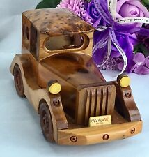 Decorative handcrafted Thuya finished wooden small classic car from Morocco