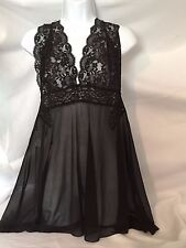 Black Lace Sheer Nylon Camisole Negligee Plus Size 3X Ladies 20877 Halter Style