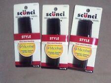 Scunci Men's Firm & Flexible Microban Pocket Combs, Black, Lot of 3