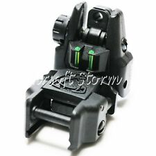 Airsoft AEG Shooting Gear APS Rhino Rear Sight with Fiber Optic Black/Green