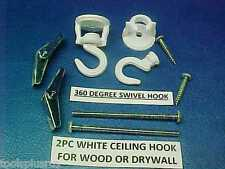 2PC 360 DEGREE SWIVEL WHITE CUP HOOK PLANT HANGER CEILING LAMP SCREW TOGGLE BOLT