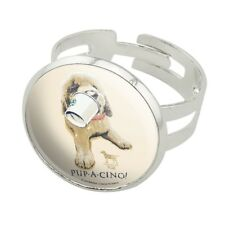 Pup-a-cinno Coffee Puppy Dog Humor Funny Silver Plated Adjustable Novelty Ring