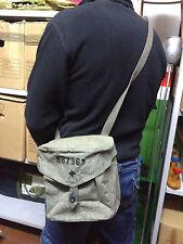 Vintage Swiss Army Military Bag Salt & Pepper Canvas Shoulder Bag Original
