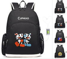 Game Cuphead Mugman Laptop Backpack USB Charging Travel Bags teenagers Schoolbag