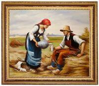 Ölbild Heuarbeit,Lunch, Julien Dupre Gemälde handgemalt signiert F:50x60cm