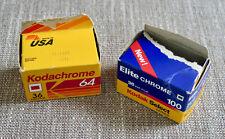 Kodachrome 64 & Kodak Elite Chrome 100 color slide film 36 exp rolls expired