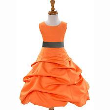 SUNSHINE ORANGE FLOWER GIRL DRESS CHOICE OF SASH COLORS FORMAL HOLIDAY UNIQUE***