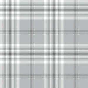 Catherine Lansfield Designer Kelso Check Tartan Light Grey Wallpaper 165521