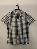 Jag Men's Shirt Size Small Blue Khaki Check Short Sleeve Casual Button up