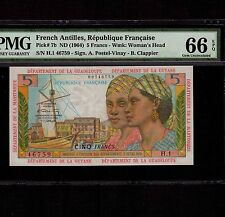 French Antilles 5 Francs 1964 P-7b * PMG Gem Unc 66 EPQ * Very Rare Condition *