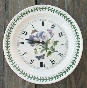 Portmeirion Botanic Garden PANSY Butterfly Plate Wall Clock England Works VGC