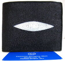 Wallet Black Man Bifold Trifold 1 Eye GENUINE REAL STINGRAY Skin Leather Grade A