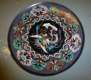 Vintage Japanese Oriental Enamel Cloisonne brass dish platter Quality Phoenix