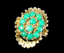 Stilvoller Gold Ring 12 Türkis Edelsteine Goldring Meister-Punze Unikat vintage