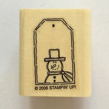 Stampin Up SNOWMAN HANG TAG Rubber Stamp Mini Winter Christmas Gift Label Wood