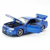 1:32 1998 Nissan GT-R Skyline Car Model Diecast Vehicle Sound Light Blue Kids