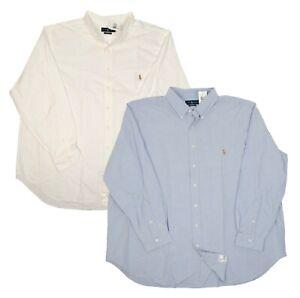 RALPH LAUREN BIG TALL MEN'S CLASSIC FIT OXFORD DRESS SHIRTS WHITE BLUE MULTISIZE
