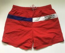 Nautice Men's Bathing Suit Swim Trunks Size XL Red, White And Blue Lined