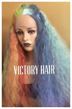 Rainbow Lace Front Wig. Multi Color Mix Long lace front wig. human Hair Blend