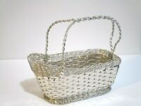 """Silver Plated Wine Basket Handmade Marked Made in Italy Diplom Brevetto 9x7.5"""""""