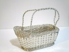 Silver Plated Wine Basket Handmade Marked Made in Italy Diplom Brevetto 9x7.5""