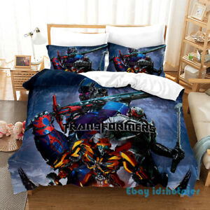 Optimus Prime Deformation 3D Bedding Set Kids Duvet Cover Pillowcases 3pcs Gift