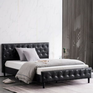 Tee Vee Button Decoration PU Iron Bed Black Twin