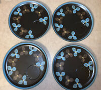 "(4) Stoneware By Jonas Roberts Brown & Blue Floral 9"" Snack Plates"