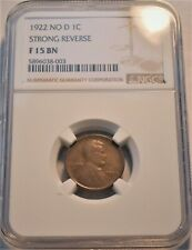 1922 no D 1C NGC F15 Strong Reverse Lincoln Cent Better Semi-KEY Date FINE Penny
