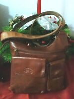 "Women's Super Cool Small Brown Leather ""FRANCINEL"" Designer Cross Body Bag Purse"