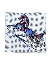 Woman Celine Motif Print Silk Scarf blue polka dot Italy NWOT AUTH